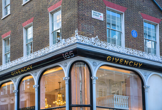 London, UK - August 13, 2019: Givenchy logo and designer shop at Old Bond street in Mayfair. Old Bond street is the best destination for designers luxury brands and jewellery