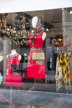 London, UK - August 13, 2019: Fashion display in window of Dolche and Gabbana boutique shop at Old Bond Street: the major shopping street in West End of London for luxury designer brands and jewels