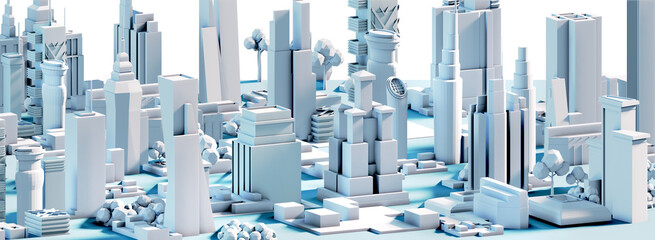 Modern City 3D render view. Business and banking area with skyscrapers, modern corporate architecture, Capital city, futuristic cityscape. Business background  Fotomurales