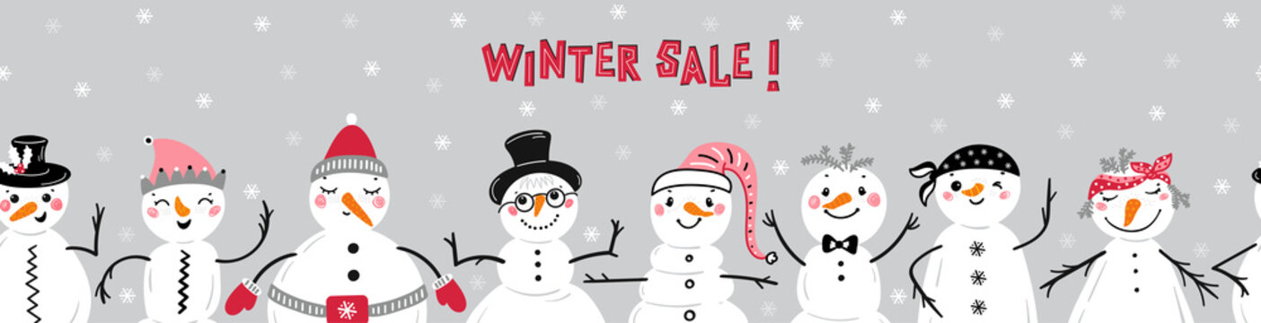 Winter Sale Banner with Cute Snowmen. Cartoon Funny Snowman Seamless Border Pattern. Winter Holidays, Christmas and New Year Design