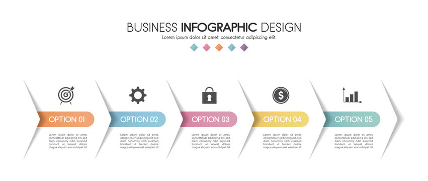 Business infograph with 5 steps. Vector
