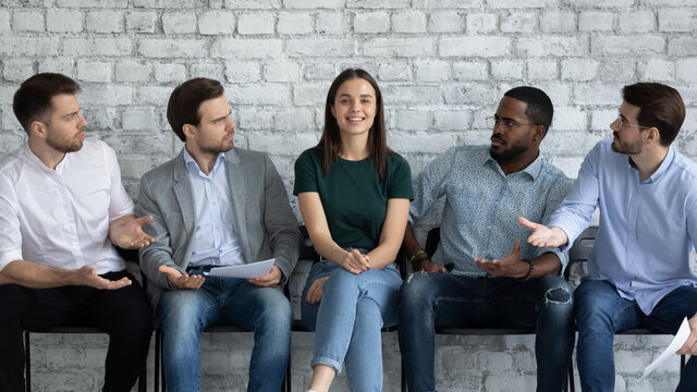 Gender stereotypes. Angry annoyed diverse male applicants on prestigious position at company staff can not believe they lost competition to capable confident female candidate, feel resentful shocked