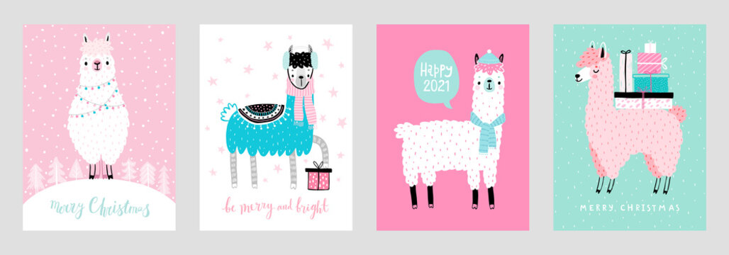 Christmas cards with Cute Llamas celebrating Christmas eve, handwritten letterings and other elements.