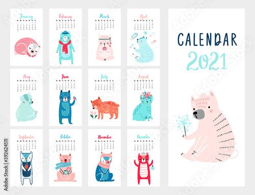 Wall mural Calendar 2021. Monthly calendar with cute