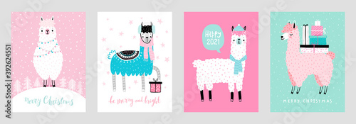 Wall mural Christmas cards with Cute Llamas celebrating Christmas eve, handwritten letterings and other elements.