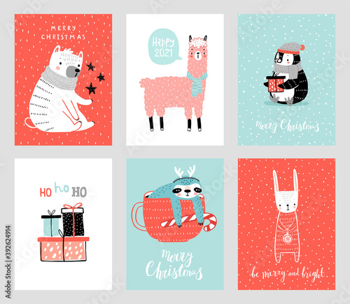Wall mural Cute Christmas cards with animals celebrating Christmas eve, handwritten letterings and oyher elements. Funny characters.