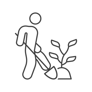 Icon of the person who transplants the plant. Simple linear image of a man with a shovel who is digging a plant. Isolated vector on white background.