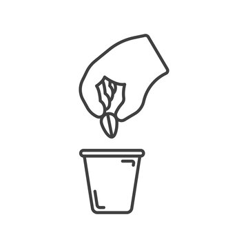 Planting seed plant icon. Simple line drawing of a hand planting a seed from a plant in a flower pot. Isolated vector on white background.