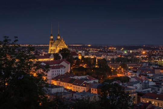 Night view on City of Brno and Cathedral of St. Peter and Paul. Czech Republic - Europe.
