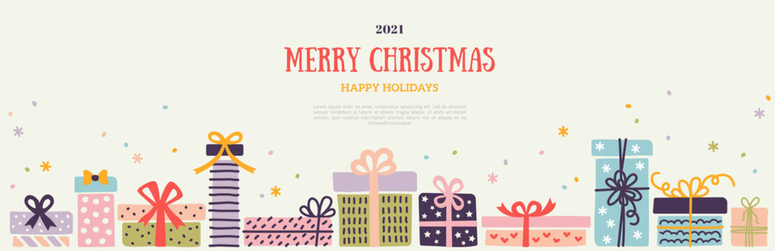 Christmas and New Year 2021 horizontal banner, border with colorful pastel ornate gift boxes and snow confetti on white background. Vector illustration. Place for text. Party brochure template