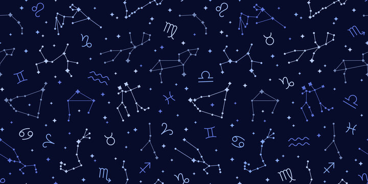 Seamless pattern of blue zodiac signs. Vector illustration. Capricorn, Aries, Leo astrological symbols. Connected glowing stars on night sky map background. Libra, Virgo, Gemini on space backdrop