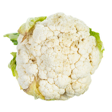top view of fresh ripe Cauliflower isolated on white background