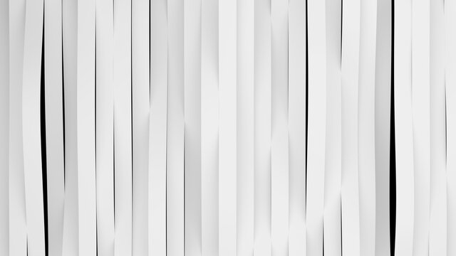 Top view on white stripes waves. Deformed bands surface with soft light. Modern bright backdrop template in minimalistic style. 3D Render Illustration