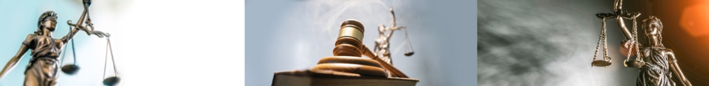 Statue of lady justice on bright background - Side view with copy space.