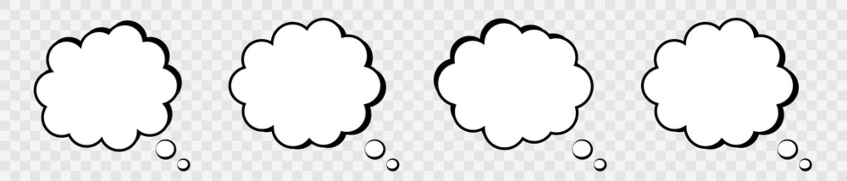 Blank retro comic speech bubble. Set clouds isolated on gray background. Vector design elements for your project, eps10.