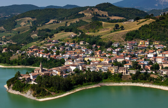Mercatale artificial lake seen from the fortress of Sassocorvaro, strategic point on the valley, Marche, Italy