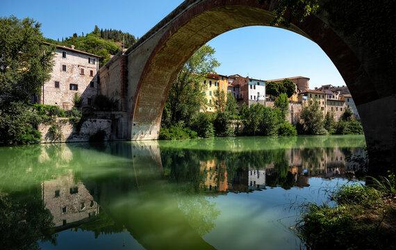 Ponte della Concordia or Diocleziano, ancient Roman bridge over the river Metauro. Fossombrone, province Pesaro and Urbino, Marche, Italy, Europe.