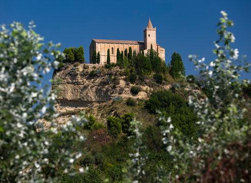 Old church Santa Maria della Rocca view. Offida, Marche region, Italy
