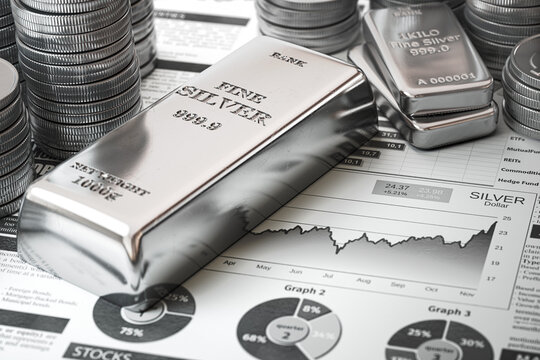 Silver bar, ingots and coins on financial  report. Growth of silver on stock market concept.