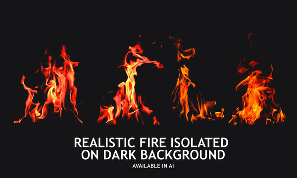 Set of isolated fire images on dark background. For used on dark illustrations. Transparency only in vector format