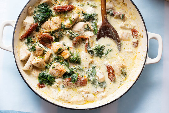 Creamy Tuscan chicken with sun dried tomatoes, spinach and parmesan