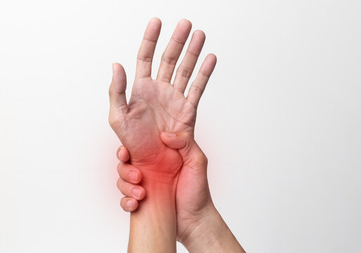 hand man suffering from pain in the wrist and fingers isolated on white background.with clipping path