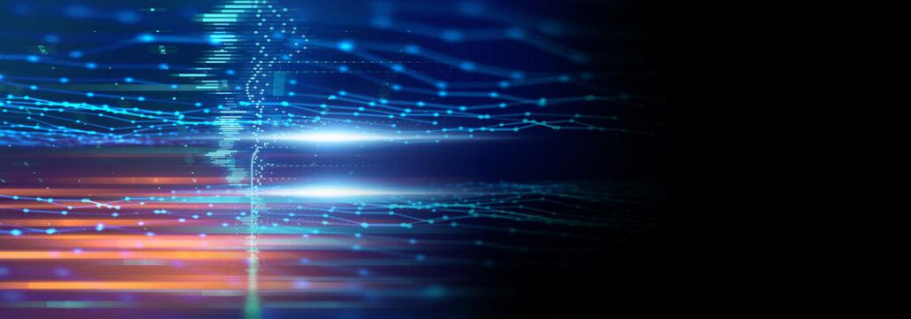defocused image of  fiber optics lights abstract banner