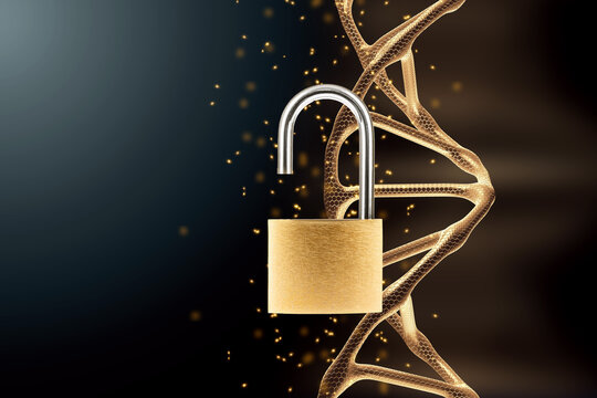 Barn padlock open on dna background. Concept scientists have decoded the genome, a scientific discovery.