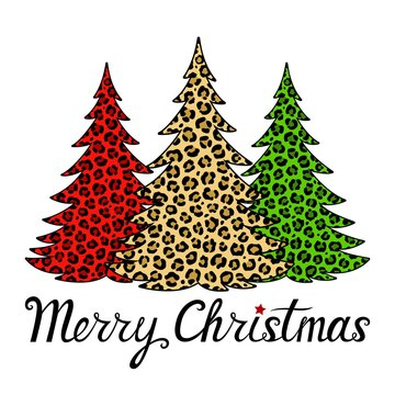 Merry Christmas phrase. Trees with leopard print. Vector holiday card. Animal decorative ornament. Hand lettering. Illustration. Isolated on white background. For printing on T-shirts, bags, banners.