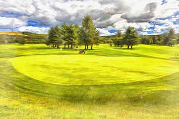Golf field colorful painting looks like picture.