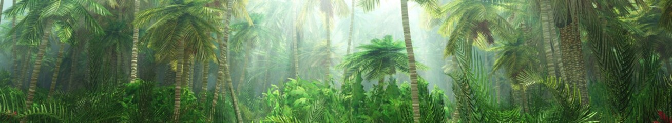 Jungle, rainforest during the plank, palm trees in the morning in the fog, jungle in the haze,