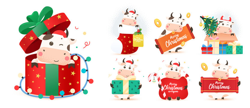 Christmas Cow kit. 2021 year of the ox. Big set of different Happy bulls. Chinese year of Ox 2021. Year of the bull. Bundle for Christmas greeting card, Merry Christmas and happy new year.
