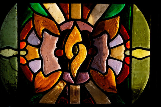 Colorful decorative stained-glass window antique pattern design texture