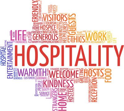 Hospitality vector illustration word cloud isolated on a white background.