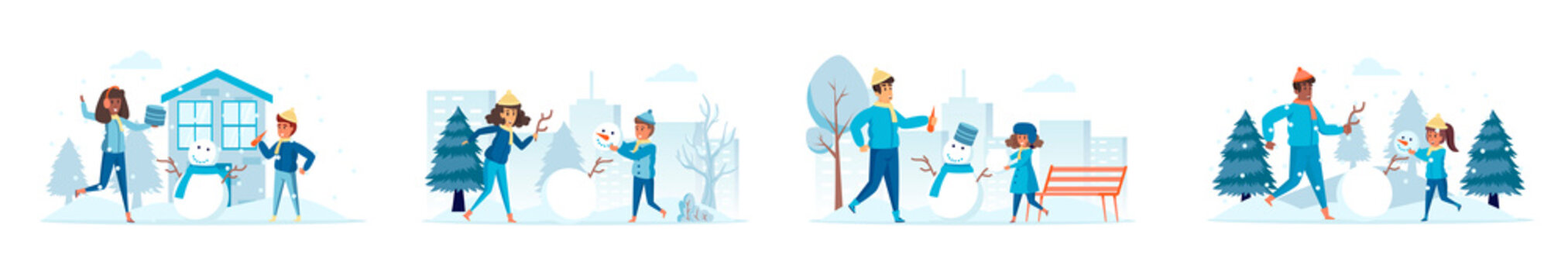 Building snowman bundle of scenes with flat people characters. Parents with kids making snowman outdoors at snowfall conceptual situations. Wintertime holidays vacation cartoon vector illustration.
