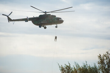 Military helicopter flying during exercise