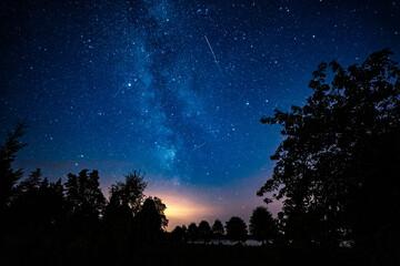 Door stickers UFO Night Sky, Milky Way. Nature landscape.