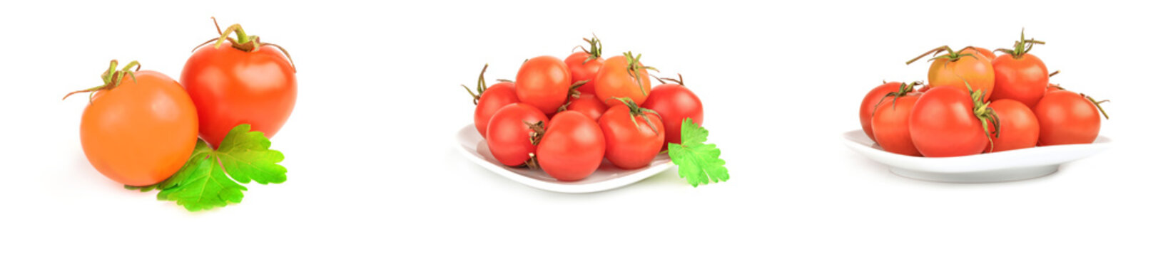 Set of cherry tomatoes isolated on a white background cutout