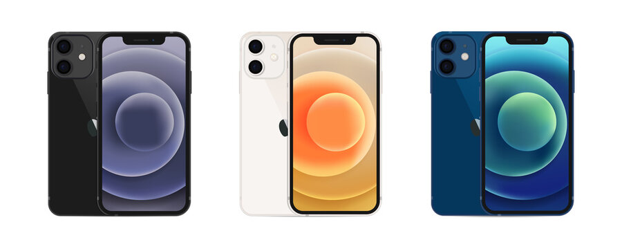 Apple iPhone 12. Smart phone. Different colors. Touch screen. World technology. Kyiv, Ukraine - November 15, 2020