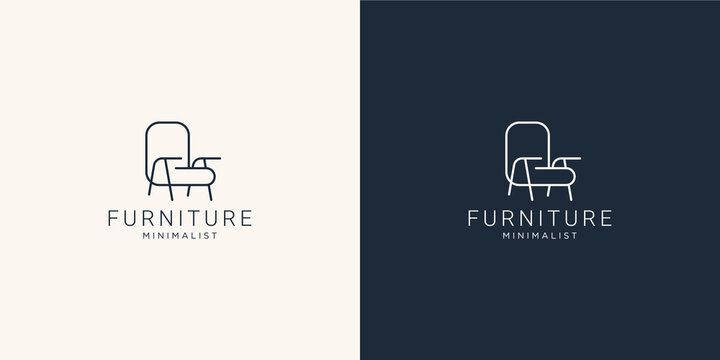 Minimalist furniture logo with chair for store. logo design style, line.abstract,interior,monogram,Furnishing design template illustration. Premium Vector