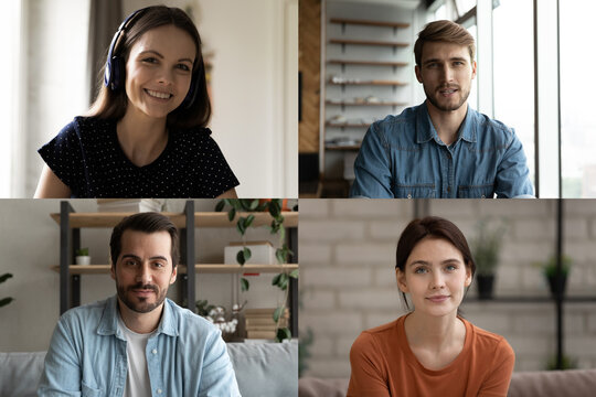 Happy young caucasian male female people friends holding video call conversation or enjoying online educational training workshop seminar remotely from home, modern distant communication concept.