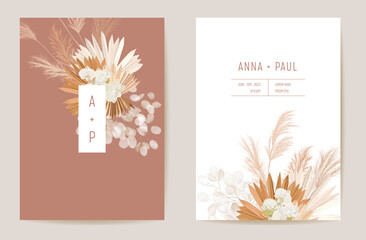 Wedding dried lunaria, orchid, pampas grass floral vector card. Exotic dried flowers, palm leaves boho invitation