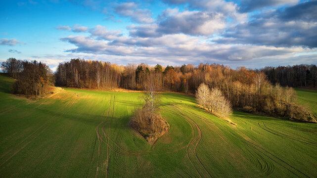 Picturesque November landscape. Rural Rolling Hills