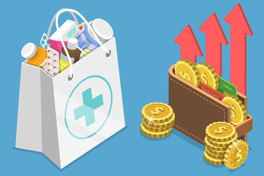 3D Isometric Flat Vector Conceptual Illustration of Rising Health Care Costs, Drugs Price Increase.