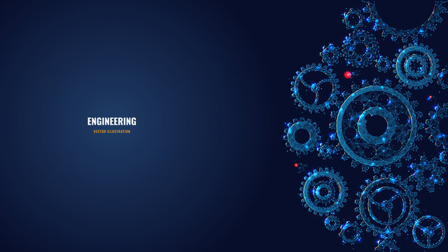 Digital low poly 3d gears. Cogs and gear wheel mechanisms in dark blue. Engineering or mechanical technology concept. Abstract vector mesh illustration with dots, lines, stars and glowing particles