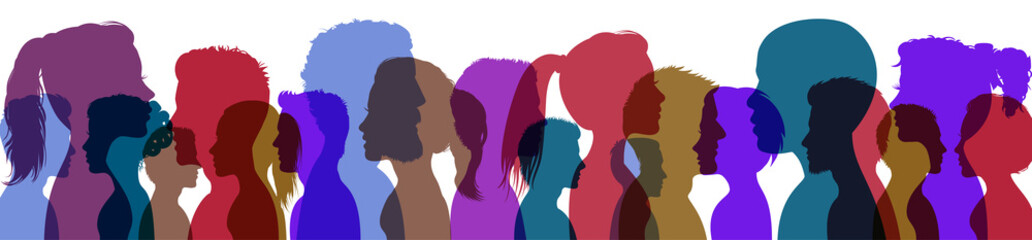 Fototapeta Silhouette profile group of men and women of diverse culture. Concept of racial equality and anti-racism. Multicultural society, friendship. Diversity multiethnic and multiracial people - vector