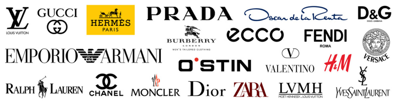 Kiev, Ukraine - November 15, 2020: Set top most popular clothing dress brands logo company: Louis Vuitton, GUCCI, Coco Chanel, Hermes, Prada, Versace, Armani, Ralph Lauren, Fendi... Editorial vector