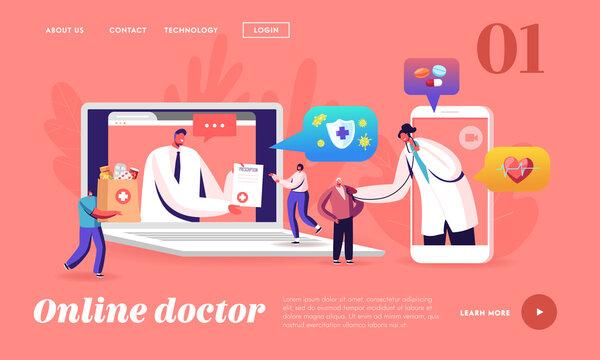 Distant Online Medicine, Smart Medical Technologies Landing Page Template. Doctors Characters Listen Heart Beating