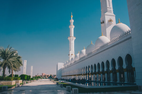 Famous sheik Zayed mosque in Abu Dhabi, outside view of the biggest mosque in the world on a sunny day.