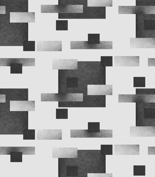 pencil graphic geometric seamless pattern with squares and rectangles in achromatic grayscale colors on a light background